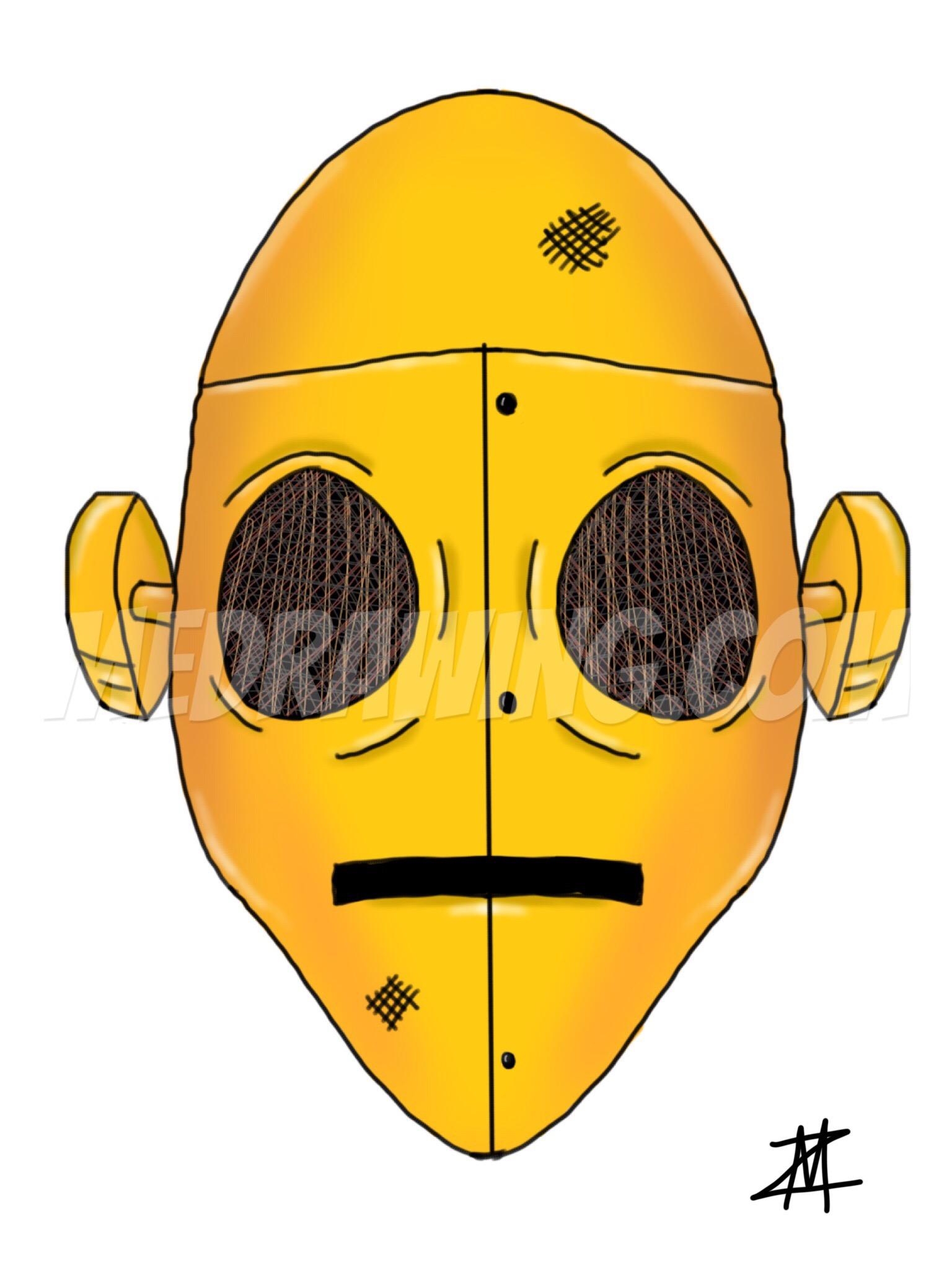1536x2048 Gold Robot Head Drawing