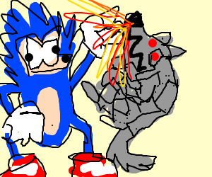 300x250 Badly Drawn Sonic Defeats A Robot Wolf.