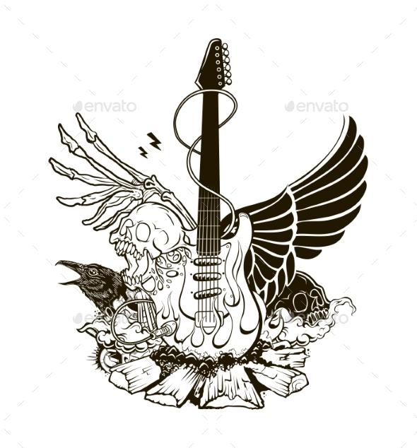 590x634 Rock N Roll Vector Illustration By Tettygreen Graphicriver