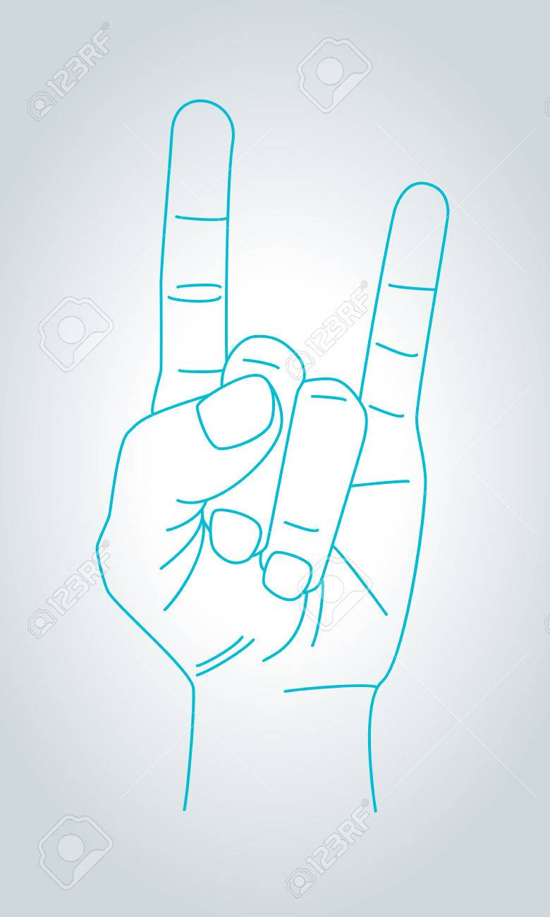 780x1300 Devil Horns Gesture. Metal Hand In Thin Line Style. Rock N Roll