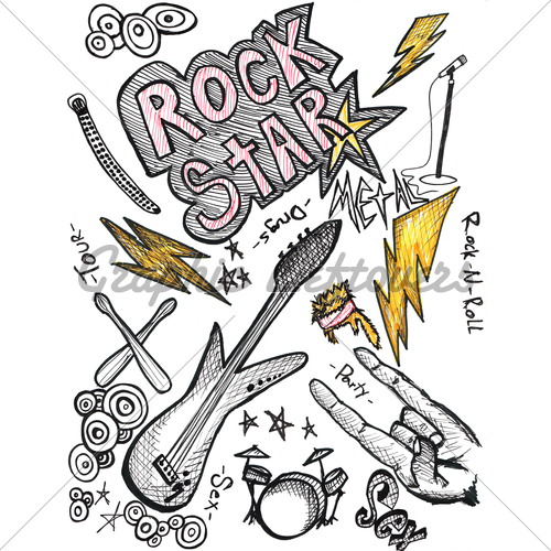 500x500 Hand Drawn Rock And Roll Elements Gl Stock Images