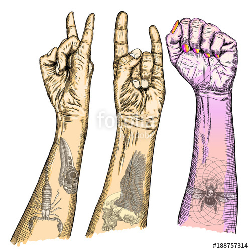 500x500 Set Of Rock And Roll Music Hand Sign. Hand Drawn Girl And Guy