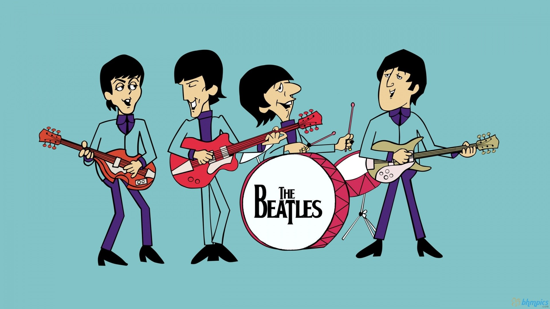 1920x1080 Childrens Drawing Rock Band The Beatles Music Desktop