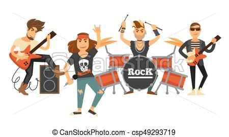 450x270 Rock Music Band Singers And Musicians With Musical Vector Clip