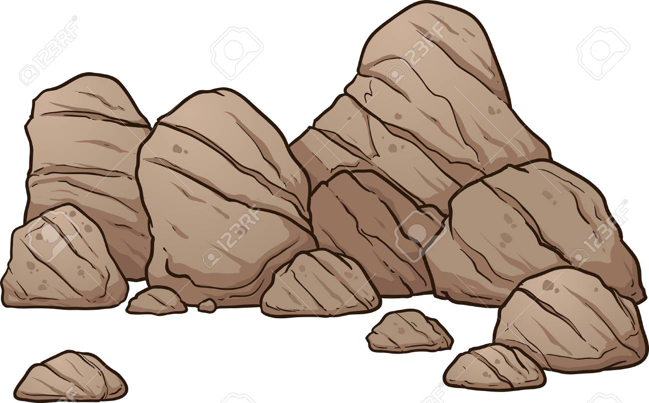 1300x808 Cartoon Boulders And Rocks. Vector Clip Art Illustration