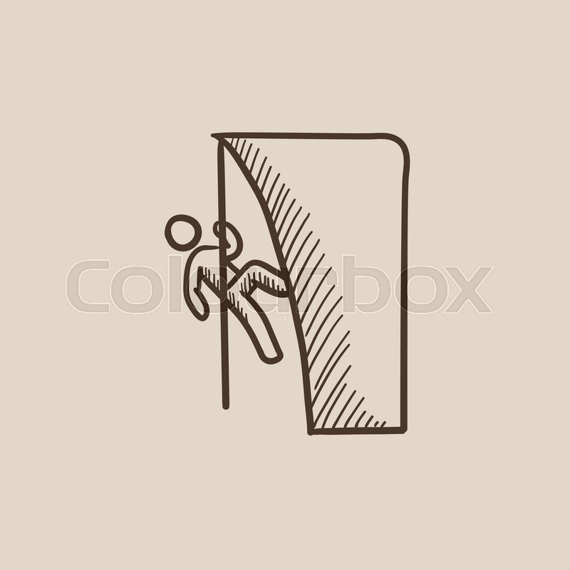 800x800 Rock Climber Climbing An Overhanging Cliff Sketch Icon For Web