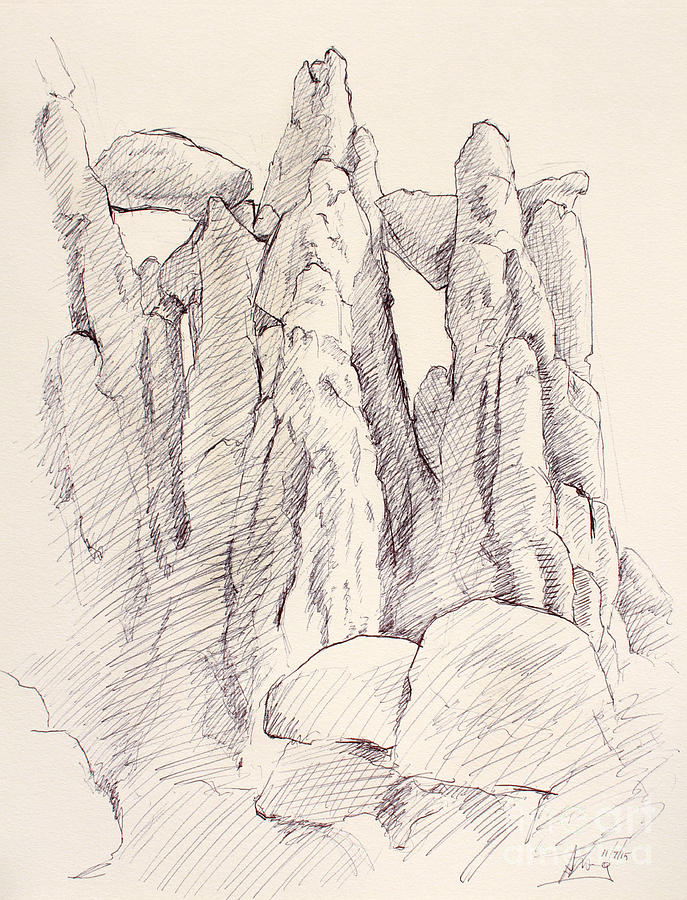 687x900 Garden Of The Gods Pulpit Rock Ink On Toned Paper Drawing By Adam Long