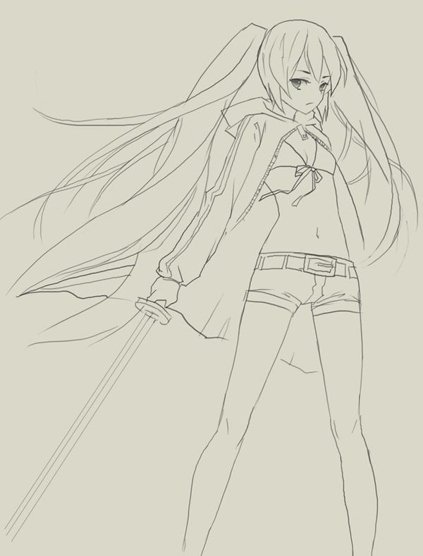 600x789 How To Draw Black Rock Shooter