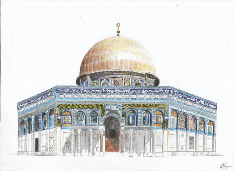 770x560 Saatchi Art Dome Of The Rock Drawing By Jowana Al Hindi