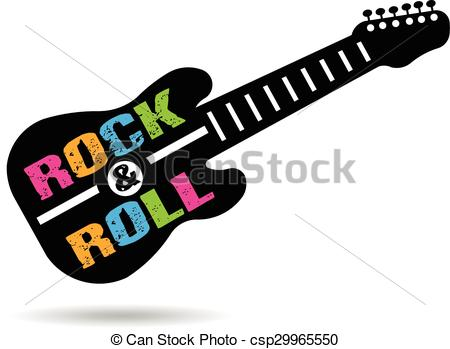 450x349 Rock And Roll Guitar Logo Clipart Vector