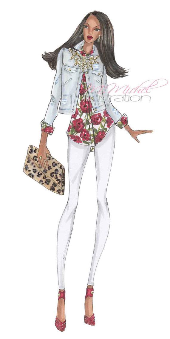 570x1135 Fashion Illustration Print, Rock Star Fashion Art