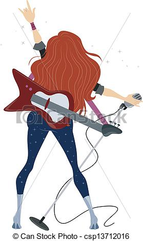 279x470 Illustration Showing Back View Of A Rockstar Teenage Girl Vector