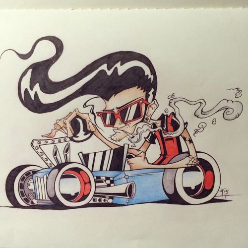 500x500 Rockabilly Rat Rod Cartoon. I Had Fun With This. I Miss This. Will