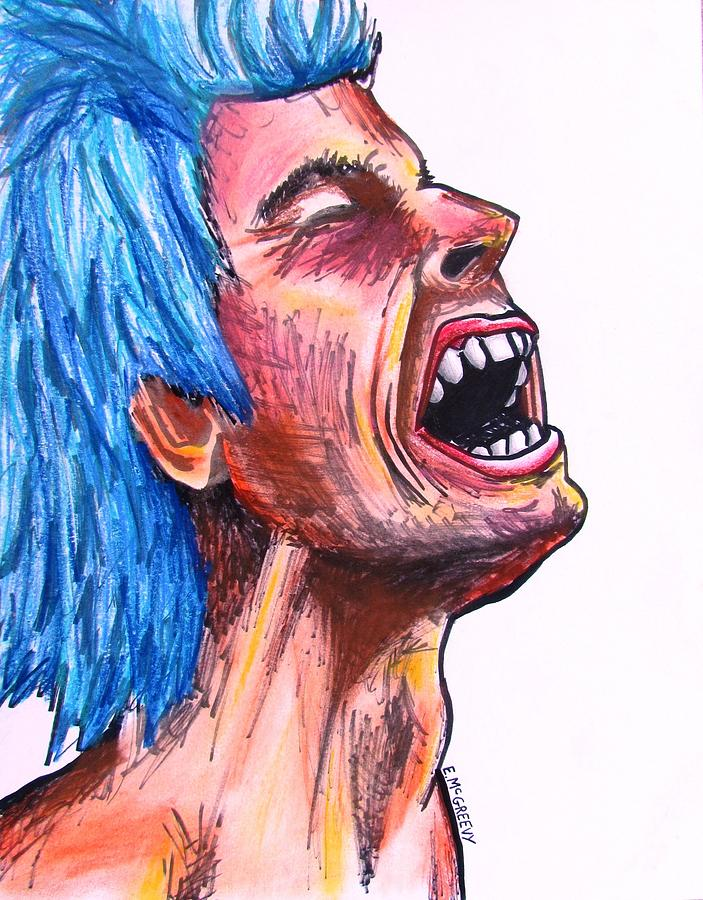 703x900 Blue Haired Rocker Drawing By Eric Mcgreevy