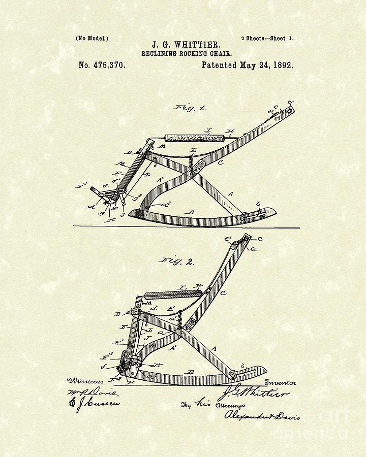 720x900 Reclining Rocker 1892 Patent Art Drawing By Prior Art Design