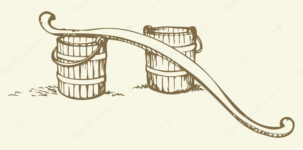 1023x507 Rocker And Buckets. Vector Drawing Stock Vector Marinka