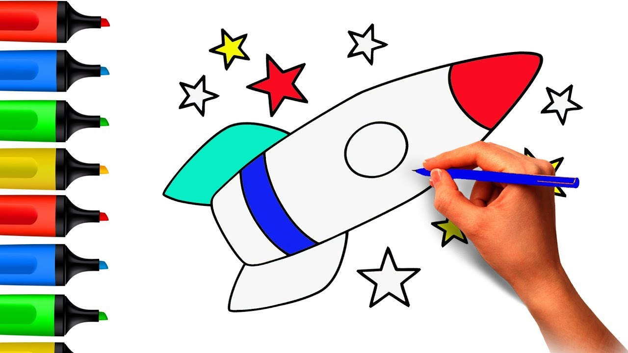 1280x720 Coloring Pages. Rocket. Space Shuttle. Painting. Drawing Cartoon