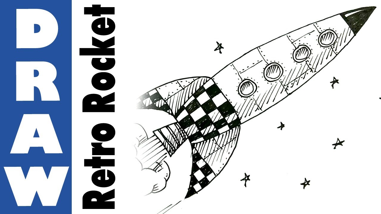 1280x720 How To Draw A Retro Space Rocket