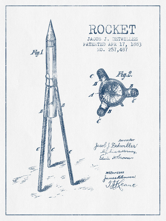 675x900 Rocket Patent Drawing From 1883