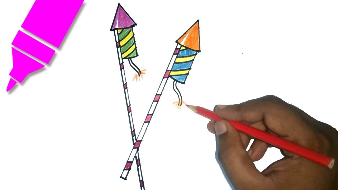1280x720 Diwali Crackers Drawing How To Draw Diwali Rocket Diwali