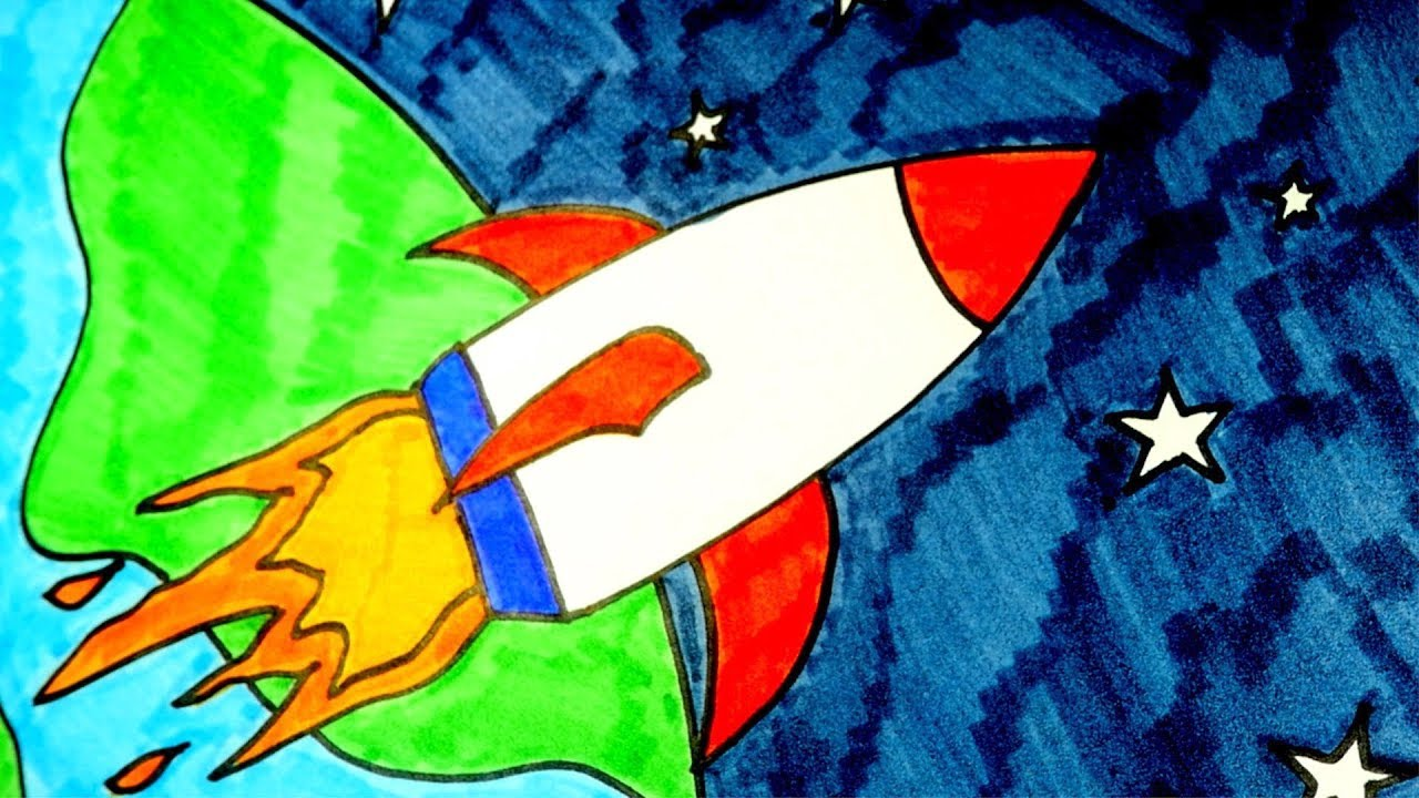 1280x720 How To Draw A Rocket, Step By Step, For Kids (Easy)