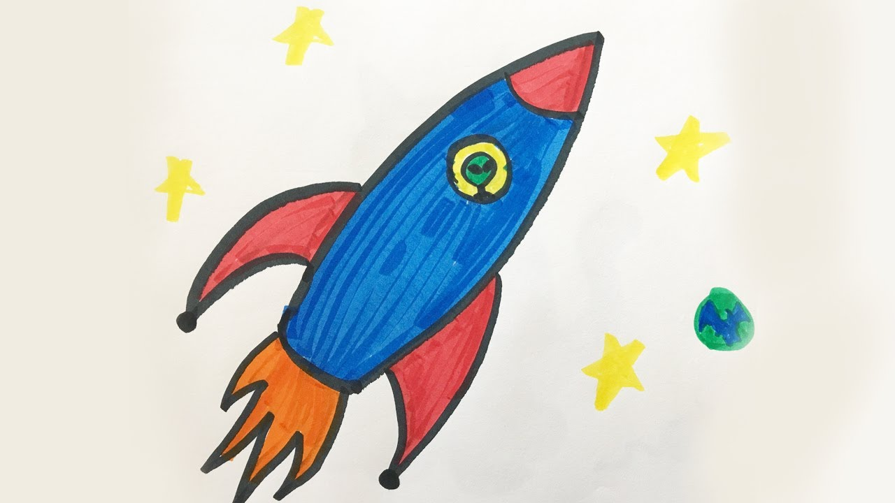 1280x720 How To Draw And Color A Space Ship For Kids!