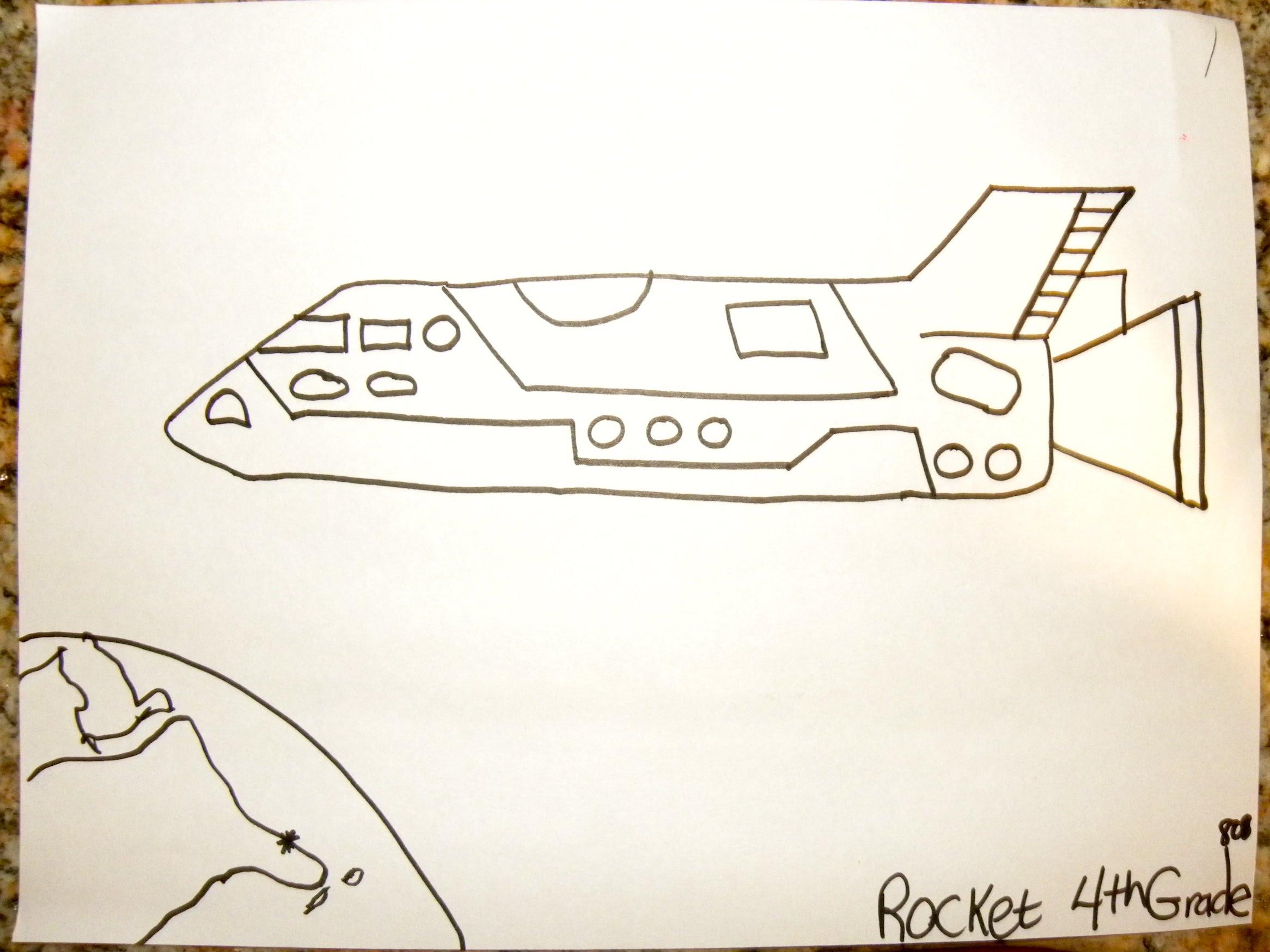 2332x1749 Kids Can Draw Space Rocket