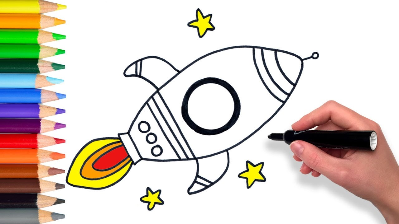 1280x720 Learn How To Draw A Rocket Ship Teach Drawing For Kids