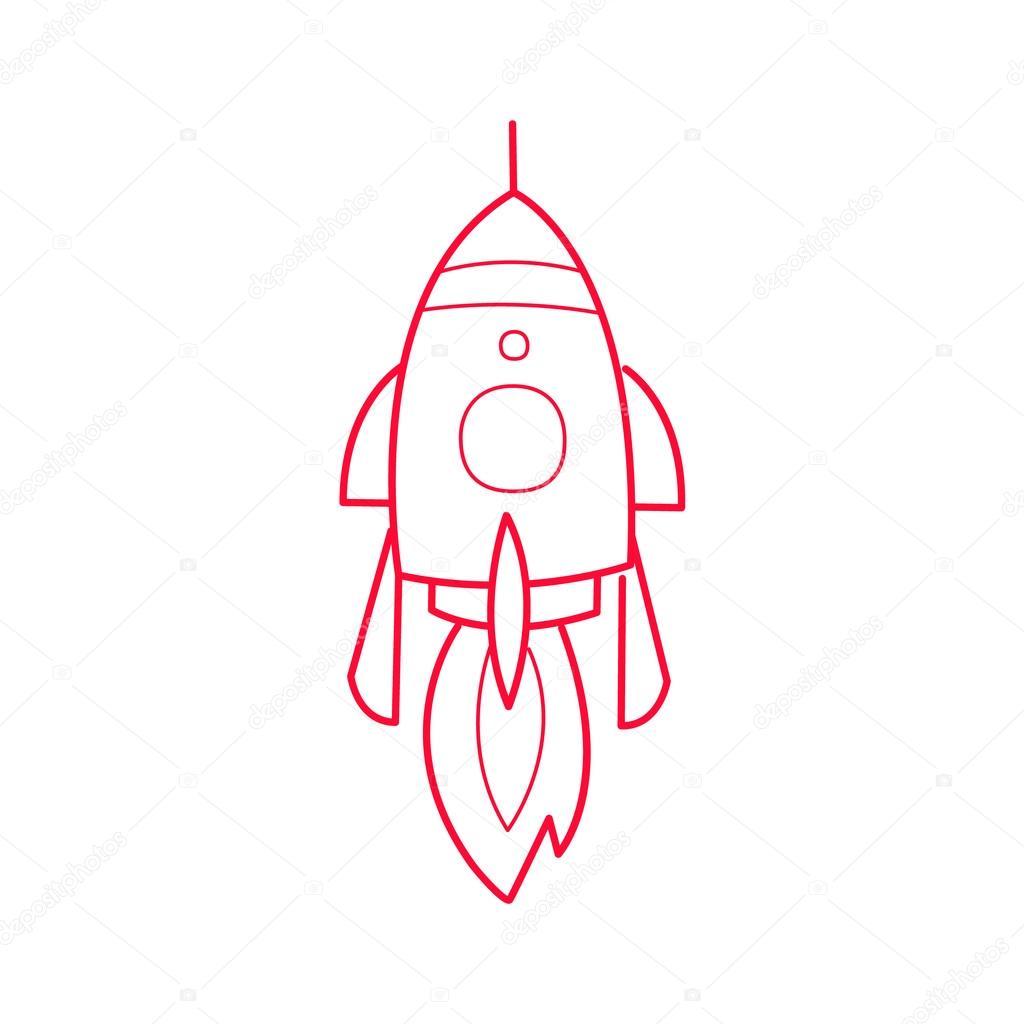 1024x1024 Rocket Ship Simple Contour Drawing Stock Vector Topvectors