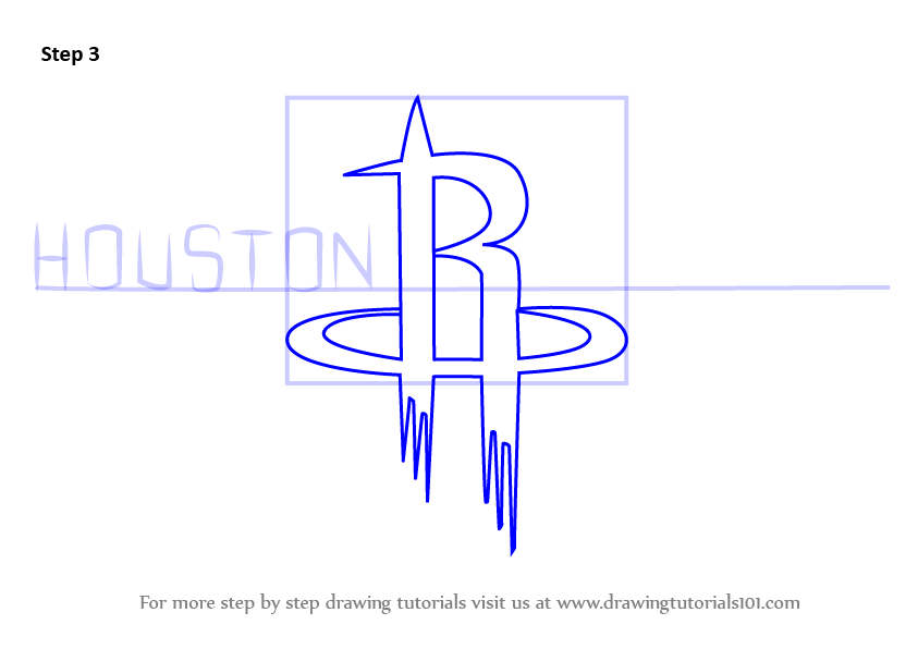 843x596 Learn How To Draw Houston Rockets Logo (Nba) Step By Step