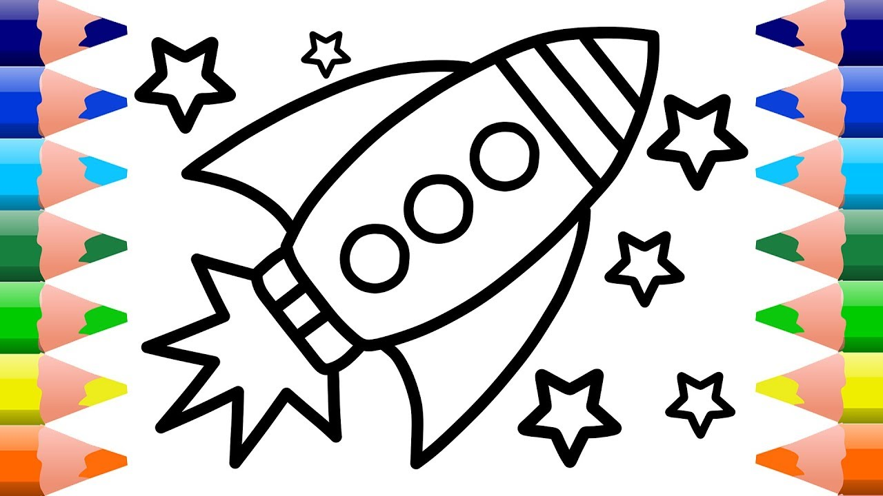 1280x720 Rocket Ship Coloring Pages For Kids How To Draw Spaceships