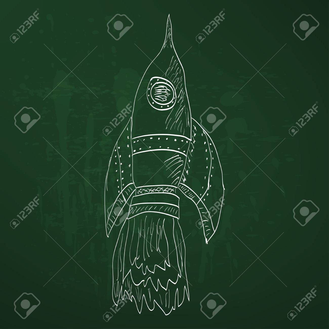 1300x1300 Soaring Rocket Ship Cartoon Icon. Sketch Royalty Free Cliparts