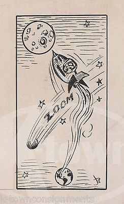 244x400 Space Rocket Ship Meteor Original Artist Signed Newspaper Cartoon
