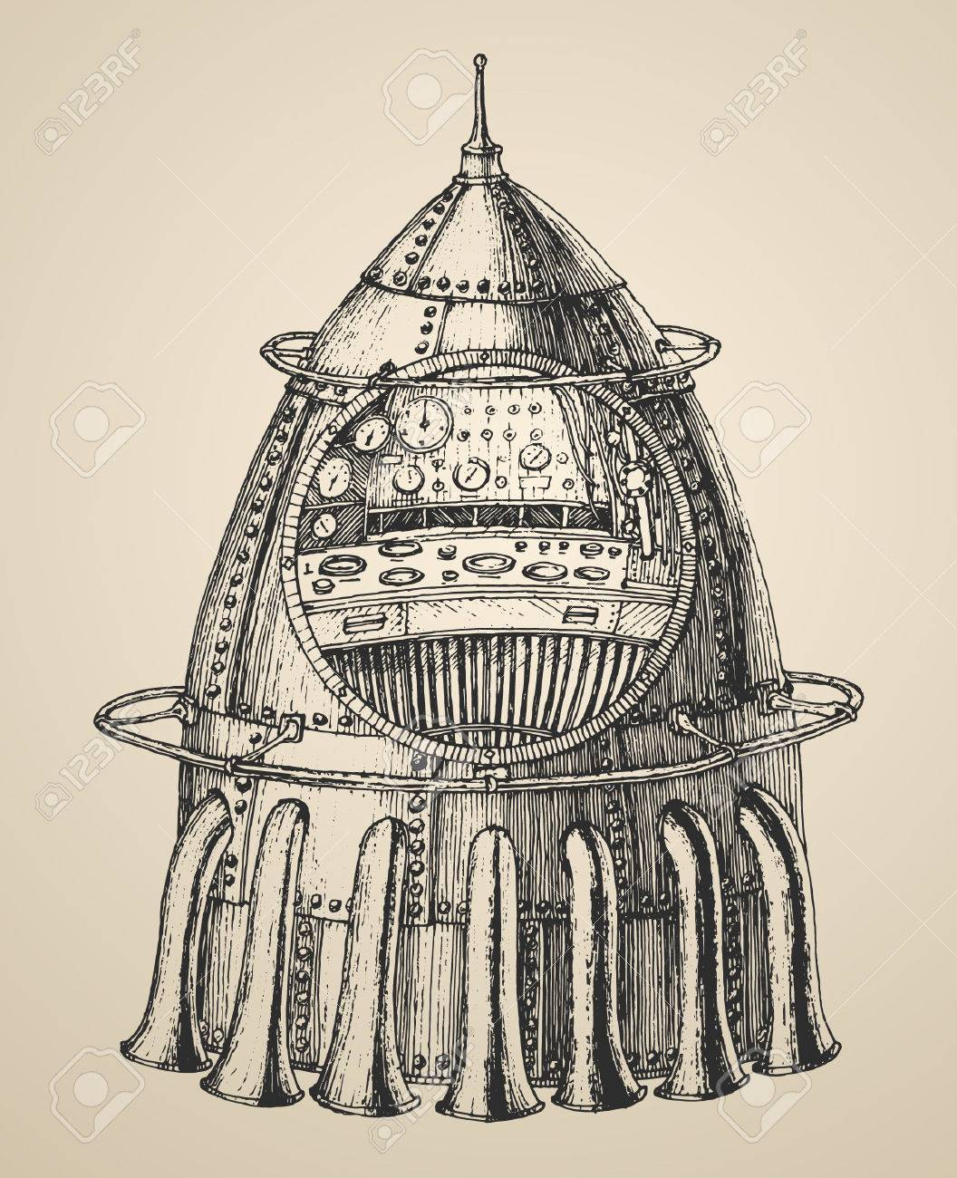 1056x1300 Spaceship Illustration Of A Steam Punk Rocket Ship In A Vintage