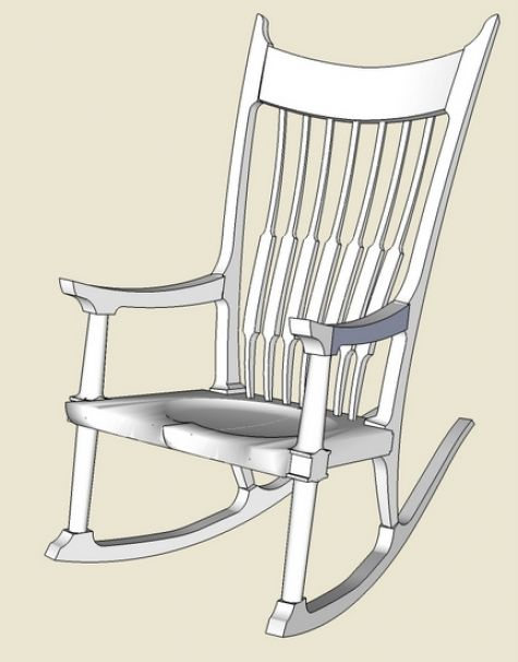 475x606 Endearing Rocking Chairs Parts With Maloof Rocker Roughing Into