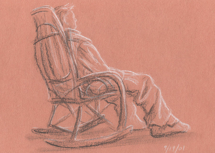 900x643 Rocking Chair Drawing By Jeffrey Oleniacz