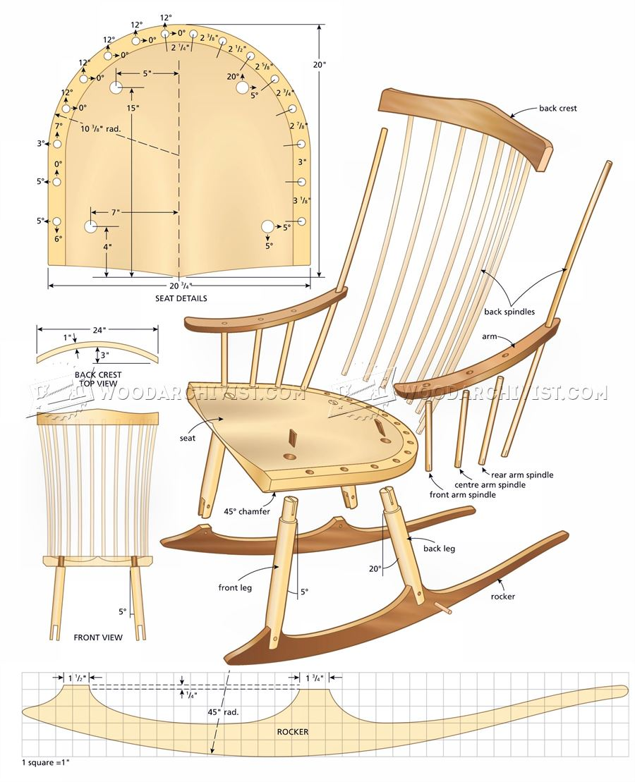900x1109 Rocking Chair Plans Woodarchivist