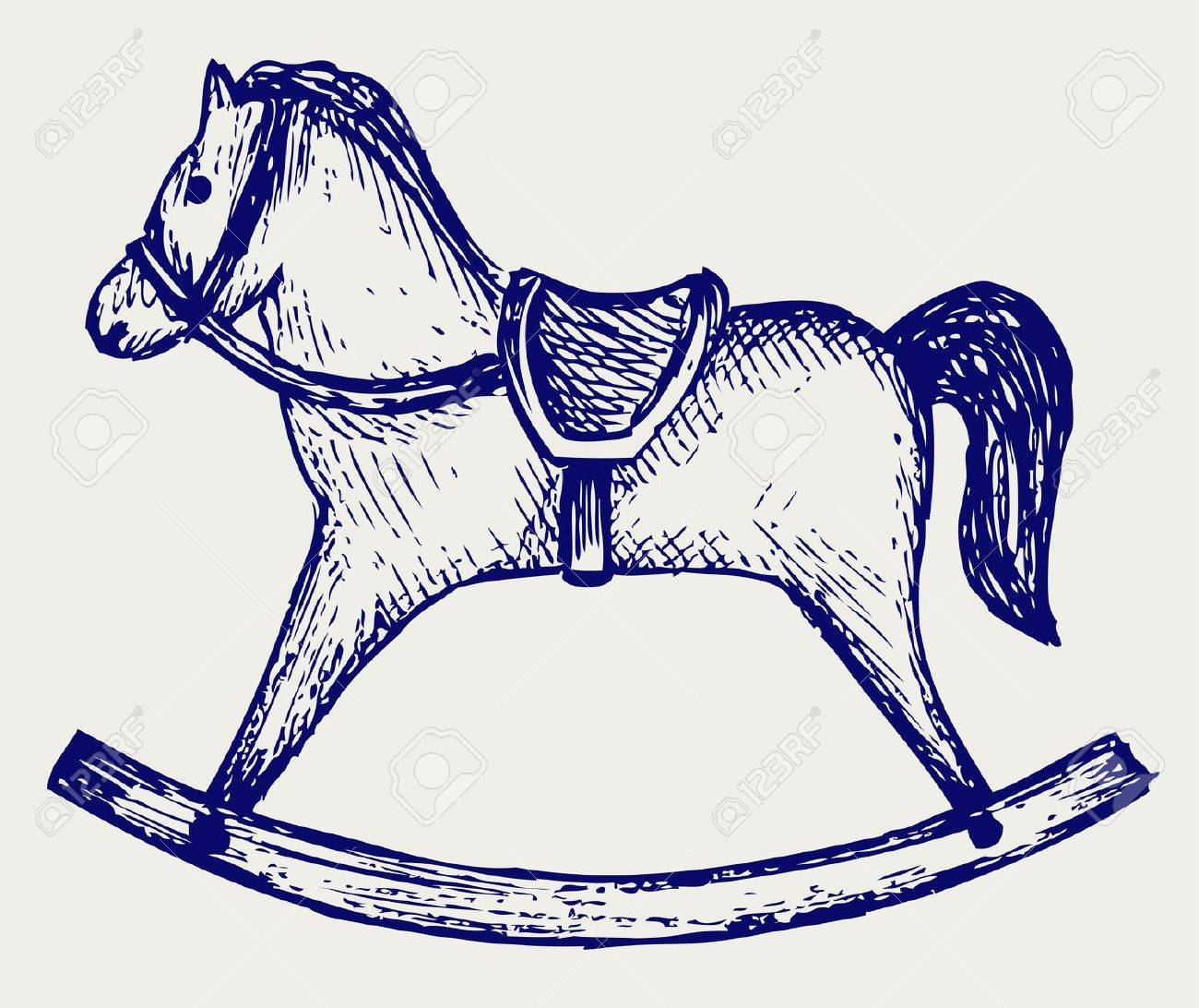 1300x1092 Wooden Rocking Horse Doodle Style Royalty Free Cliparts, Vectors