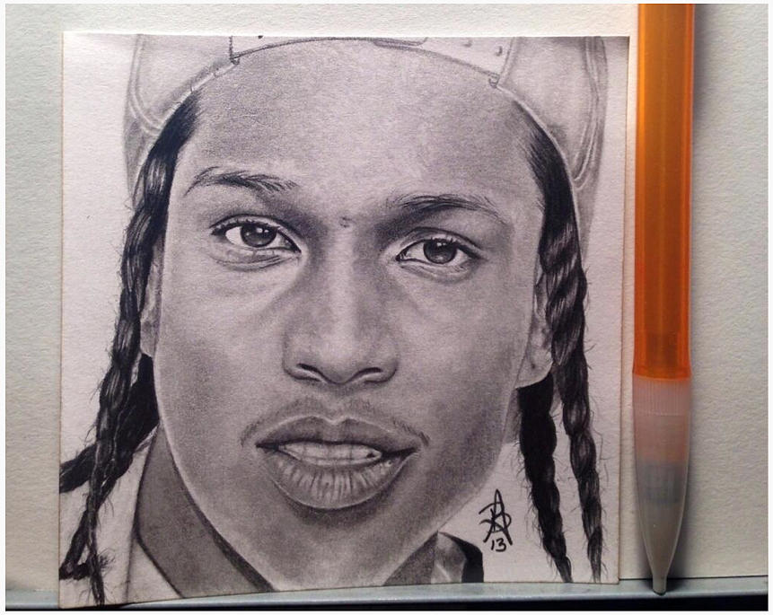 861x685 Asap Rocky Post It Drawing Drawing By Angelee Borrero