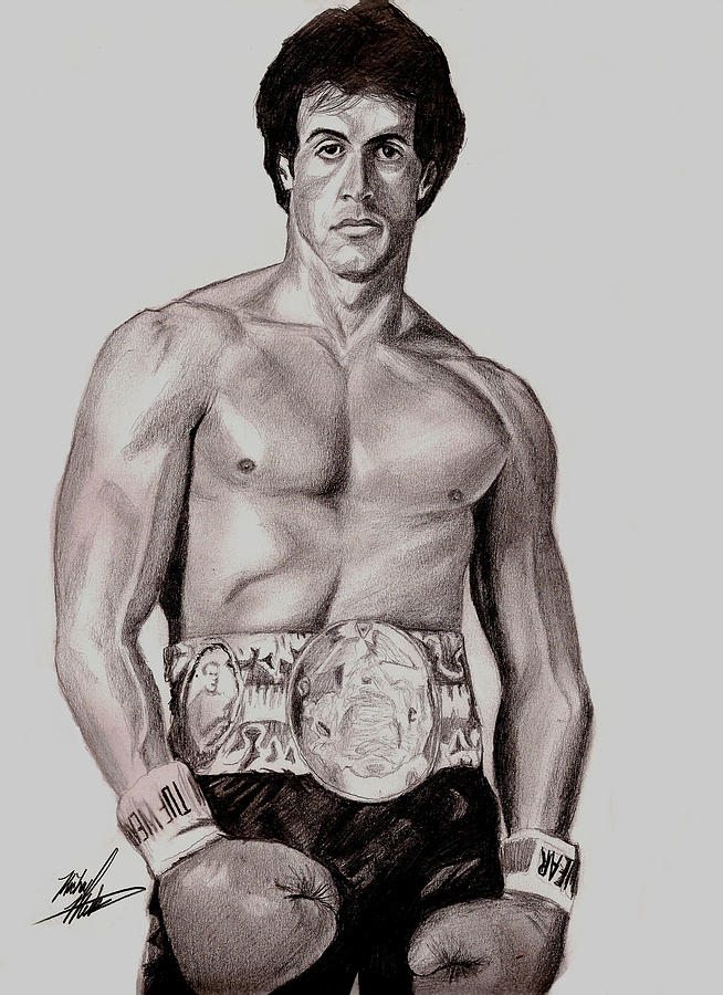 654x900 Rocky 3 Drawing By Michael Mestas