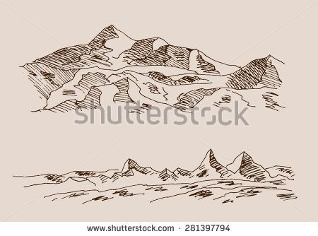 450x334 Rocky Mountain Scenery, With Rocks, In Engraving Etching Hand