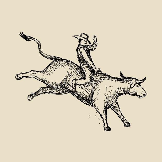 630x630 Bull Riding Rodeo Cowboy Drawing