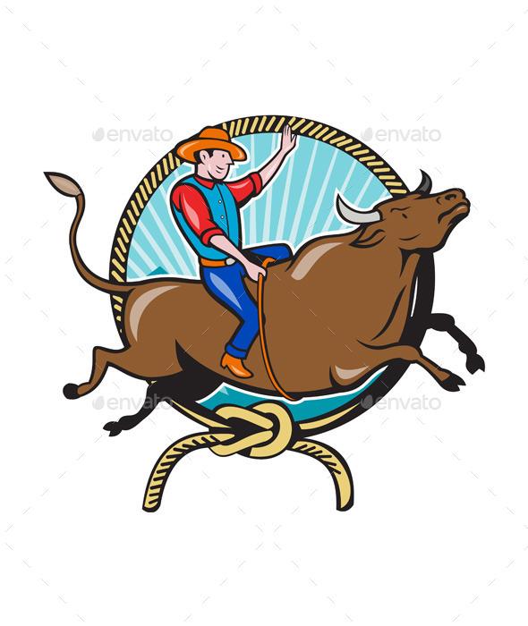 590x700 Rodeo Cowboy Bull Riding Lasso Cartoon By Patrimonio Graphicriver