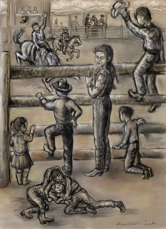 654x900 Ranch Kids At The Rodeo Drawing By Dawn Senior Trask
