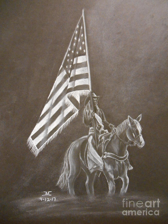675x900 Rodeo Flag Girl Drawing By Josetta Castner