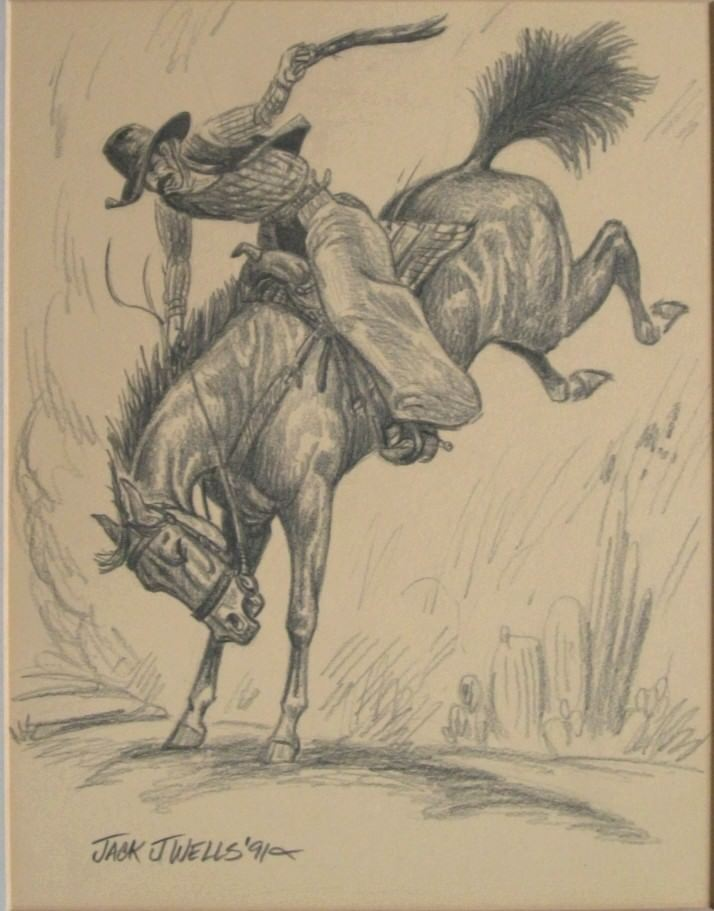 714x911 Signed Original Jack J. Wells Graphite Drawing Western Rodeo Ebay