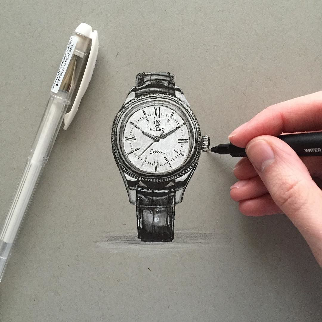 1080x1080 The New Rolex Cellini Time In Pen And Pencil.