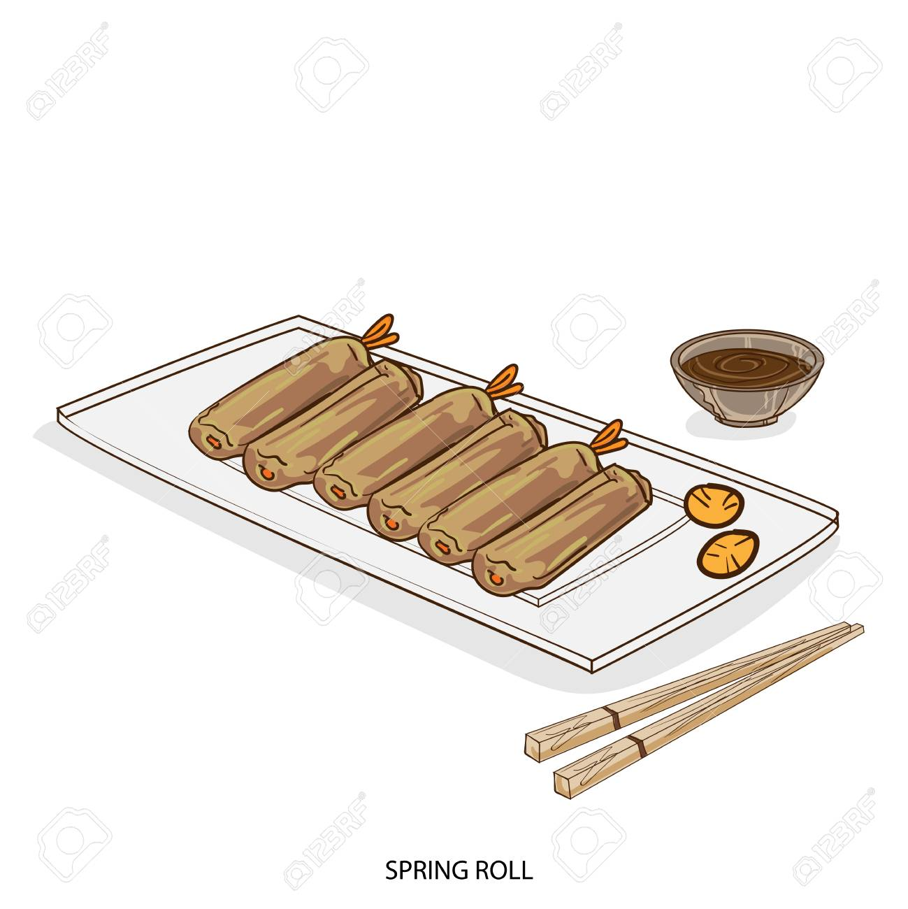 1299x1300 Food Object Spring Roll Hand Drawing Royalty Free Cliparts