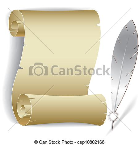 450x470 Old Paper Roll With Feather Vector Illustration Of Contact Clip