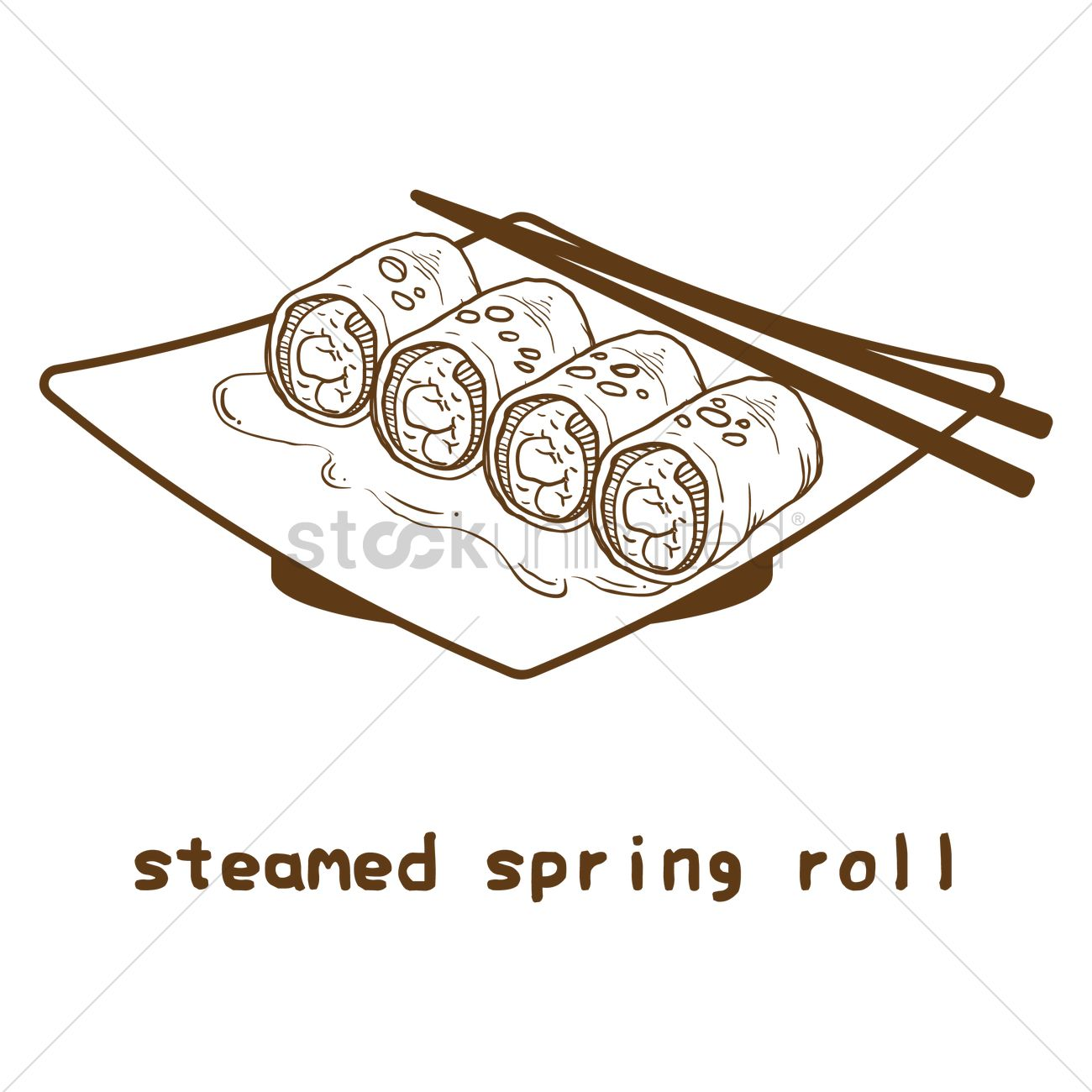 1300x1300 Steamed Spring Roll Vector Image